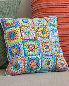 Crochet pattern: Circle Square Pillow by Annemarie Benthem (Annemarie's HaakBlog) from Crochet to Calm: Stitch & De-Stress with 18 Colorful Crochet Patterns, for sale on Amazon #ad