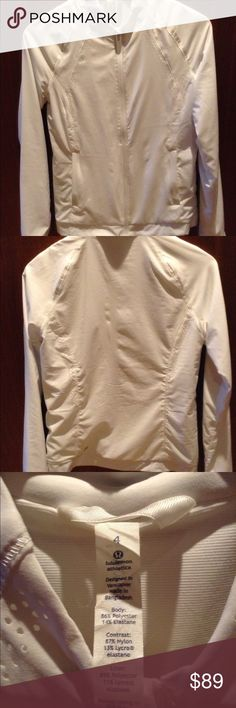 Lulu lemon white, Hit It Jacket size 4 Lulu lemon white, size 4, Hit It, zip up jacket, only worn a few times just like new. Side pockets, low collar, slightly padded and lightweight zip up. Stunning! lululemon athletica Tops Sweatshirts & Hoodies
