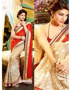 Red and Cream Georgette Embroidered Exclusive #Saree With Cotton Silk Blouse