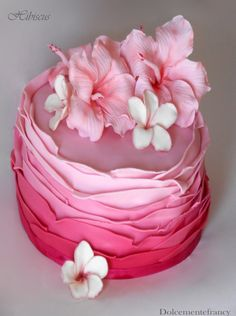 Hibiscus Cake - cake ruffle with hibiscus and frangipani in gumpaste