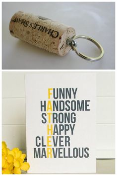 Two DIY Fathers Day Ideas: Cork Keychain and Reasons Why I Love You. Top Photo: cheap and easy DIY keychain that someone will actually use from A Law Student's Journey here (first seen at Thanks, I Made It here), Bottom Photo: Etsy Father's Day Card from doodlelove here. *I have gotten a message asking about Father's Day gifts that are inexpensive, and