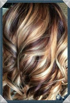 Cherry/Mahogany base with blonde highlights and brown lowlights.