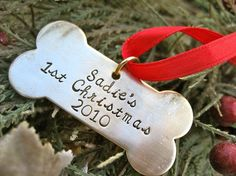 Hey, I found this really awesome Etsy listing at https://www.etsy.com/listing/60832779/puppys-first-christmas-dog-bone-ornament