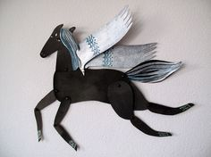 Silver Winged Black Horse Articulated Decoration  by benconservato, $24.00
