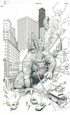Godzilla Issue 7 Cover by Kevin Maguire and Art Adams