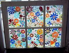 Mosaic stained glass on antique windows. The Ultimate in Recycling! Mosaic Garden, Mosaic Art, Mosaic Glass, Fused Glass, Garden Art, Glass Beads, Stained Glass Projects, Stained Glass Art, Stained Glass Windows