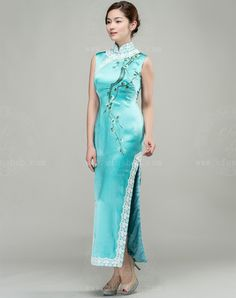 Light lake blue silk with embroidery choensam dress
