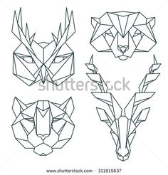 Animal icons, vector icon set. Abstract triangular style