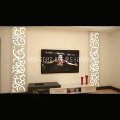 Tv wall design with Wooden boxed shape Acrylic & Wooden CNC Design on the top with lights from behind. Tv Wall Design, Ceiling Design, Cnc Cutting Design, Showroom Interior Design, Modern Tv Wall Units, Living Room Tv Unit Designs, Home And Deco, Panel, Wall Murals