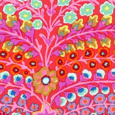 Kaffe Fassett - Kaffe Prints - Persian Vase in Red .....bold, vintage-looking psychedelic floral print