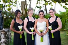 We always love how a bride pops among maids dressed in black. An elegant black and white destination wedding Black Bridesmaid Dresses, Bridesmaids, Wedding Dresses, Wedding Black, Black And White Colour, Real Weddings, Destination Wedding, Chiffon, Elegant