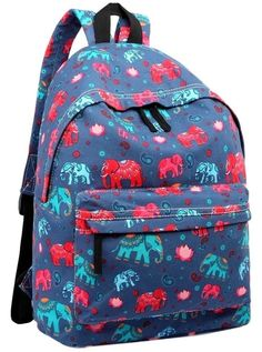 Blue backpack rucksack with an Elephant print thick canvas fabric with adjustable shoulder straps Fastens with a zip large external zip fastening
