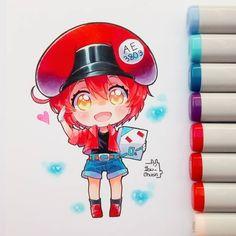 Red Blood Cell by Ibu-Chuan Anime Drawings Sketches, Anime Sketch, Manga Drawing, Manga Art, Cool Drawings, Manga Anime, Kawaii Chibi, Kawaii Art, Kawaii Anime