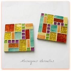 Mosaic Tray, Mosaic Tile Art, Mosaic Artwork, Mosaic Crafts, Mosaic Projects, Mosaic Glass, Hanging Stained Glass, Fused Glass Art, Mosaic Designs