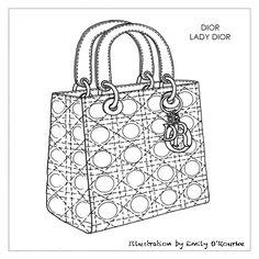 DIOR - LADY DIOR BAG - Designer Handbag Illustration / Sketch / Drawing / CAD / Borsa Disegno