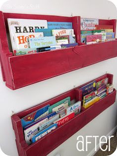Pallet Bookshelves Tutorial --- Now these look sturdy enough for MY kids! I'm pretty sure my girls would have those ikea book shelves for snack. ;-)