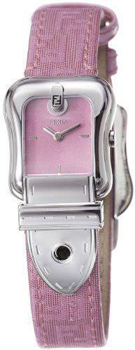 Fendi B. Fendi Ladies Pink Fabric Leather Strap Buckle Shaped Watch F370277BF -