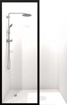 Gridscape Black Trim Shower Screen with Clear Glass and Black Frame Outline Glass Shower Panels, Shower Screens, Coastal Shower Doors, Framed Shower Door, Custom Shower Doors, Shower Shelves, Bathroom Pictures, Shower Enclosure, Glass Shelves