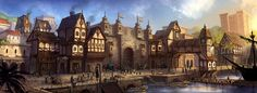 Area that looks similar to a port city from medieval times. It sits on the edge of the biggest of the islands. Fantasy Town, Fantasy Castle, High Fantasy, Medieval Fantasy, Fantasy World, Fantasy Forest, Fantasy Art Landscapes, Fantasy Landscape, City Art