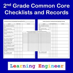 2nd Grade Common Core Checklists and Records - Teacher Records, Student Records and quick reference checklist. $