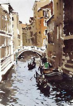 "The Marble Bridge, Venice, by John Yardley 14""X20"""