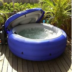 Portable Hot Tub - Four Person Spa - Inflatable Jacuzzi Whirlpool Style Outdoor Fun, Outdoor Spaces, Outdoor Living, Outdoor Decor, Jacuzzi, Best Inflatable Hot Tub, Portable Spa, Portable Hot Tub Ideas, My Pool
