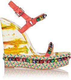 Christian Louboutin Cataclou 140 Embellished Suede and Leather Wedge Sandals ($795)