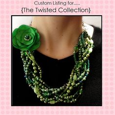 Green necklace with flower