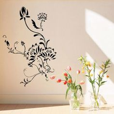 Background Sticker DIY Home Decoration Wall Decor Art Mural with Flower Pattern