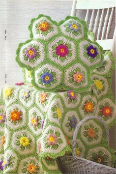 The Hem Line: Free Pattern Friday GIVEAWAY #55 Crochet Afghans, Crochet Squares Afghan, Crochet Quilt, Crochet Cushions, Crochet Home, Crochet Blanket Patterns, Crochet Motif, Crochet Crafts, Granny Squares