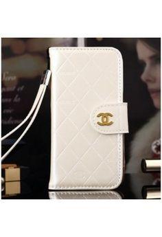 Coque Chanel iPhone 6 Plus,portefeuille Cuir iPhone 6 5.5 pouce-blanc