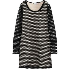 See by Chloé - Crocheted Cotton Mini Dress ($160) ❤ liked on Polyvore featuring dresses, black, short cotton dress, see by chloé, crochet mini dress, macrame dress and cotton day dresses
