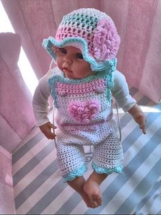 Crochet Baby Romper Crochet Hat Crochet by TippyToesBabyDesigns
