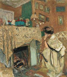 art-mirrors-art:  Edouard Vuillard - Madame Hessel au coin du feu devant la cheminée (1917)