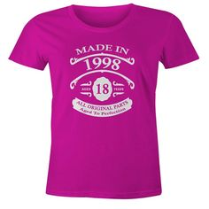 18th Birthday Gift T-Shirt - Born In 1998 - Vintage Aged 18 Years To Perfection - Short Sleeve - Womens - Pink - X-Large T Shirt - (2016 Version)