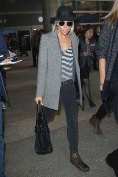 Sienna Miller, grey coat, leopard boots