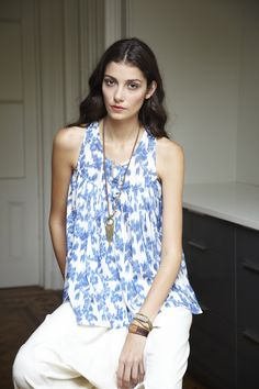 ulla johnson blue and white top @you Are Here