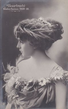 1909s - 1910s Edwardian HAIR FASHION BEAUTY Lady rppc photo postcard c470
