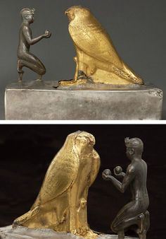 Statuette of Taharqa and the Falcon God Third Intermediate Period, 25th Dynasty, reign of Taharqa (690-664 BC)