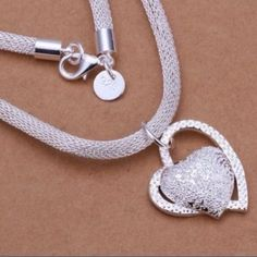 💕CLASSY DOUBLE HEART 925 STERLING SILVER NECKLACE 💕Double Hearts on Beautiful Thick Sterling Silver Rope Chain. Adorable! Jewelry Necklaces