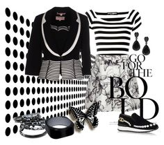 """BOLD Mix"" by shoppe23 ❤ liked on Polyvore featuring Dolce&Gabbana, Reiss, Casadei, blackandwhite, patternmixing and Shoppe23"