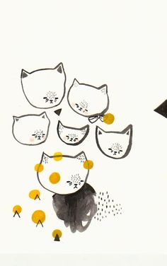 original painting- six cats by Pretty Little Thieves - one of my fave artists! #etsy #walls #art #gifts #nursery #kids