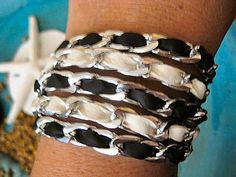 "Boho Chic Black and White Leather Stacking Chunky Silver Chain Bracelet....""FREE SHIPPING""   by LeatherDiva, $29.00"