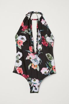 Fully lined halterneck swimsuit. Narrow cut at front. Ties at back of neck, open back, and low-cut opening at front with ruffle-trimmed edges. Floral Swimsuit, Black Swimsuit, Bikini Swimwear, Swimsuits, Paperbag Hose, Modest Bikini, Sporty Bikini, Bikini Types, Bikinis For Teens