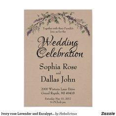 romantic classic country - Ivory rose Lavender and Eucalyptus wedding invitations