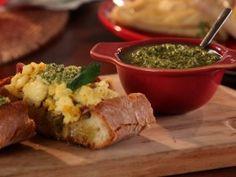 Calabrian Scrambled Eggs with Jalapeno Pesto Bruschetta from CookingChannelTV.com