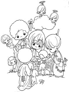 Nativity Scene - precious moments free coloring pages | Coloring Pages