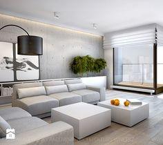 nowoczesny salon z płytami betonowymi na ścianie - Duży salon z bibiloteczką z jadalnią z tarasem / balkonem, styl nowoczesny - zdjęcie od TK Architekci