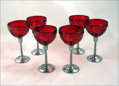 New Martinsville Art Deco Glass Cordials  Chrome and ruby glass cordials or wines from the Art Deco Era.