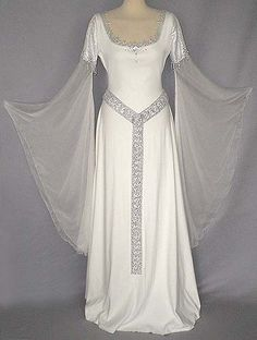 White medieval gown with transparent sleeves